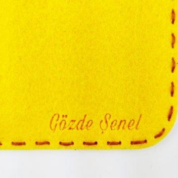 Keçe, el yapımı tablet bilgisayar kılıfı, sarı keçe